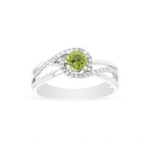 14k_white_gold_round_peridot_&_diamond_split_shank_swirl_ring