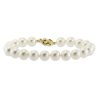 Tara Pearls 14K Yellow Gold White Cultured Pearl Bracelet, 8x8.5mm