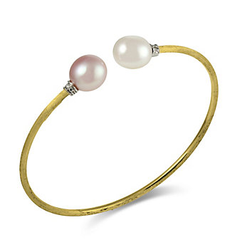 18K Freshwater Cultured Pearl By-pass Bracelet