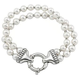 Lagos Sterling Silver Luna Cultured Pearl Double Strand Bracelet