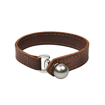 Vincent Peach Equestrian Tahitian Cultured Pearl Leather Bracelet