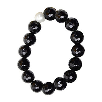 Vincent Peach Freshwater Cultured Pearl & Black Bead Stretch Bracelet