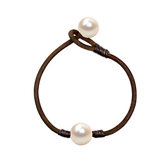 Vincent Peach White Freshwater Cultured Pearl & Brown Leather Bracelet
