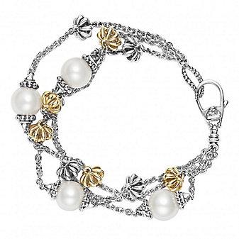 Lagos Sterling Silver & 18K Yellow Gold Luna Strand Bracelet