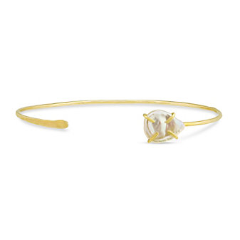 Melissa Joy Manning 14K Yellow Gold Freshwater Cultured Pearl Cuff Bracelet