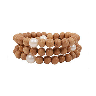 Vincent Peach Wooden Bead & White Freshwater Cultured Pearl Wrap Bracelet