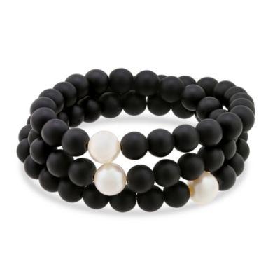 Black Wooden Bead & Freshwater Cultured Pearl Wrap Bracelet