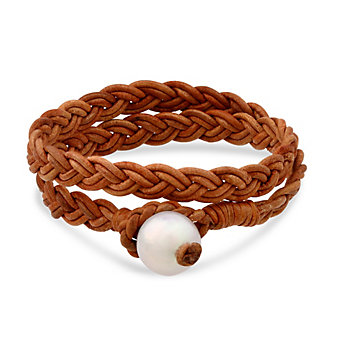 Brown Leather & Freshwater Cultured Pearl Braided Wrap Bracelet, 15""