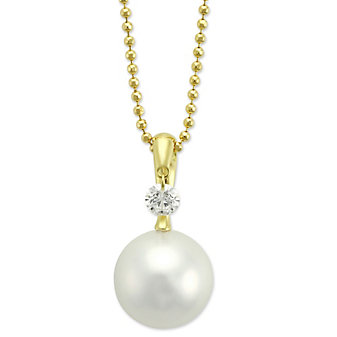 Tara Pearls 18K Yellow Gold White South Sea Cultured Pearl & Diamond Pendant