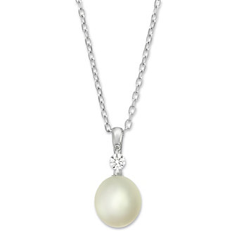 Sterling Silver Freshwater Cultured Pearl and White Topaz Pendant