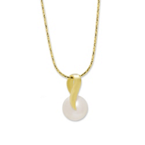 14K_Yellow_Gold_Freshwater_Cultured_Button_Pearl_Pendant,_18""