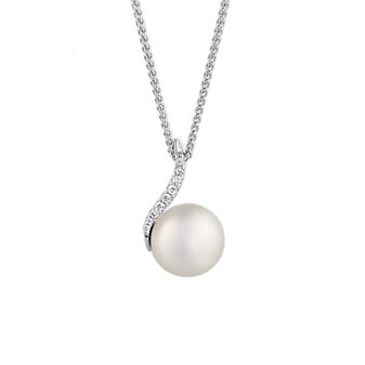 14K White Gold Freswater Cultured Pearl and Diamond Swirl Pendant