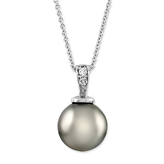 14K White Gold Tahitian Cultured Pearl and Round Diamond Pendant