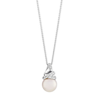 18K White Gold White Cultured Pearl and Round Diamond Swirl Pendant
