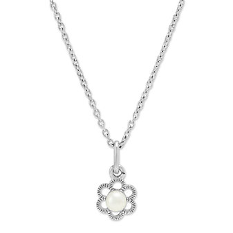 Sterling Silver Child's Freshwater Cultured Pearl Flower Pendant, 15""