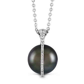 Tara Pearls 18K White Gold Diamond Tahitian Cultured Pearl Galaxy Pendant