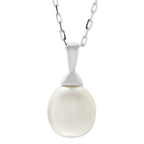 14K_White_Gold_Freshwater_Cultured_Pearl_Pendant,_18""