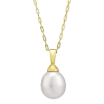 14K_Yellow_Gold_Freshwater_Cultured_Pearl_Pendant,_18""