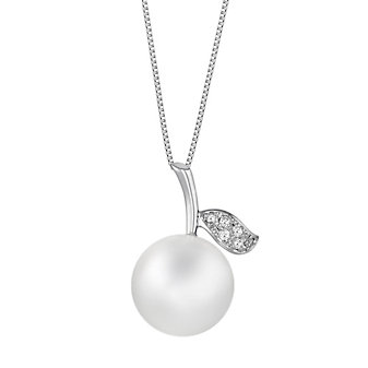 18K White Gold White South Sea Cultured Pearl and Diamond Apple Pendant, 18""