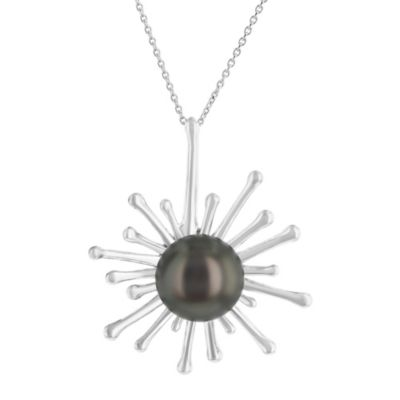 14k white gold black tahitian south sea cultured pearl starburst pendant