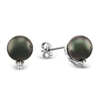Tara Pearls 18K White Gold Tahitian Cultured Pearl and Diamond Earrings
