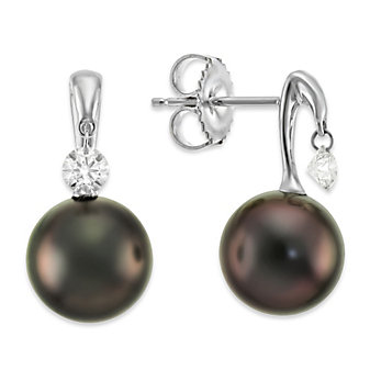 Tara Pearls 18K Tahitian Cultured Pearl and Diamond Earrings, 9x10mm