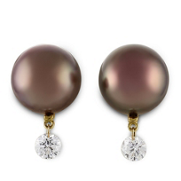 18K_Yellow_Gold_10_x_11mm_Chocolate_Cultured_South_Sea_Pearl_and_Round_Diamond_Earrings