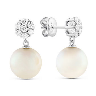 14K White Gold White Cultured Pearl & Diamond Earrings