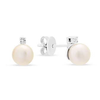 14K White Gold White Cultured Pearl & Diamond Post Earrings