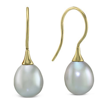14K Yellow Gold Grey Freshwater Cultured Pearl Earrings