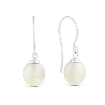 14K White Gold Freshwater Cultured Pearl Shepherd's Hook Earrings, 8mm