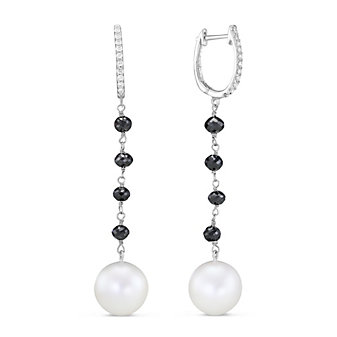 18K White Gold Freshwater Cultured Pearl and Black Diamond Bead Earrings