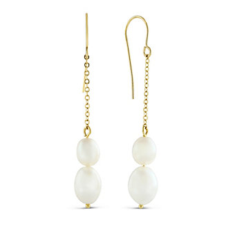 14K Yellow Gold White Freshwater Cultured Pearl Drop Earrings