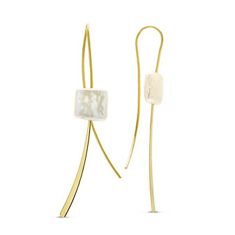 14K Yellow Gold Freshwater Cultured Pearl Square Coin Wire Earrings