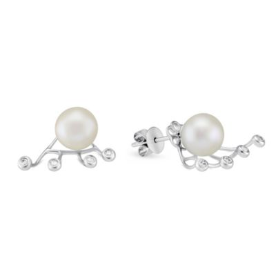 18K White Gold Freshwater Cultured Pearl Post Earrings with Removable Round Diamond Drop, 0.11cttw