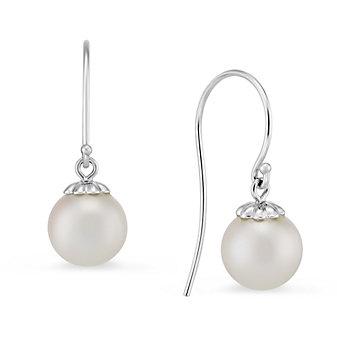 14K White Gold Freshwater Cultured Pearl Drop Earrings