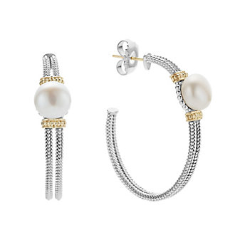 Lagos Sterling Silver Luna Pearl Hoop Earrings