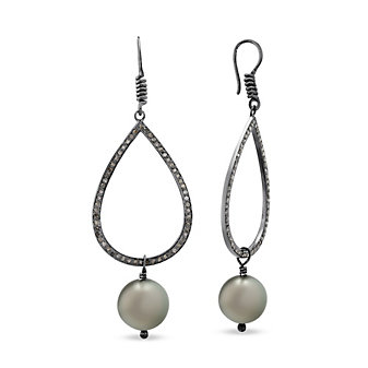 Vincent Peach Sterling Silver Diamond and Black Tahitian South Sea Cultured Pearl Drop Earrings