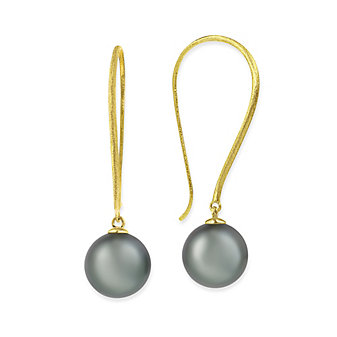 Tara Pearls 14K Rose Gold White South Sea Cultured Pearl Drop Earrings with Matte Shepherd Hooks