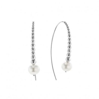 lagos sterling silver signature caviar white freshwater cultured pearl drop earrings