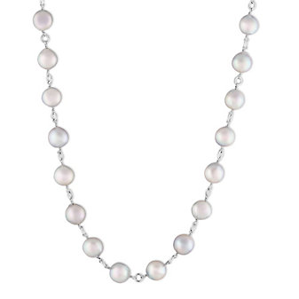 14K White Gold Gray Cultured Pearl Station Necklace, 18""