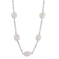14K_White_Gold_and_Sterling_Silver_White_Baroque_South_Sea_Cultured_Pearl_Station_Necklace,_29""
