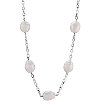 """14K White Gold and Sterling Silver White Baroque South Sea Cultured Pearl Station Necklace, 29"""""""