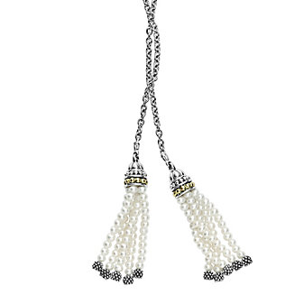 lagos sterling silver & 18k yellow gold luna white cultured pearl tassel lariat necklace, 42""