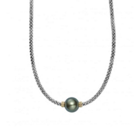 """lagos_sterling_silver_&_18k_yellow_gold_black_freshwater_cultured_pearl_1_station_luna_necklace,_16"""""""
