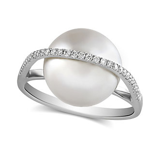 Tara Pearls 18K White Gold South Sea Cultured Pearl and Diamond Ring