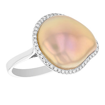 tara 14k white gold peach freshwater cultured baroque pearl & diamond halo ring
