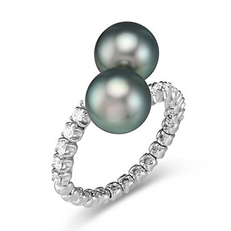 18K White Gold Tahitian Cultured Pearl & Diamond Bypass Ring