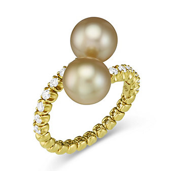 18K Yellow Gold Golden South Sea Cultured Pearl & Diamond Bypass Ring