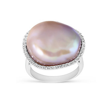 Tara Pearls 14K White Gold Baroque Pink Freshwater Cultured Pearl And Diamond Ring